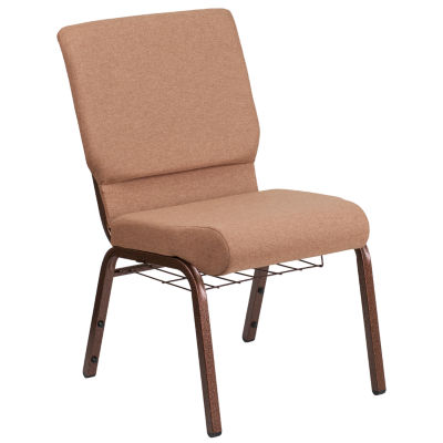 Hercules Series Fabric Side Chair with Cup Book Rack
