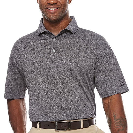 PGA TOUR Short Sleeve Pro Series Solid Heather Polo- Big & Tall