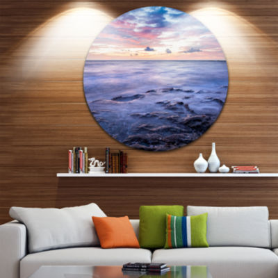 Design Art Long Exposure Twilight Sea Rocks BeachPhoto Metal Circle Wall Art