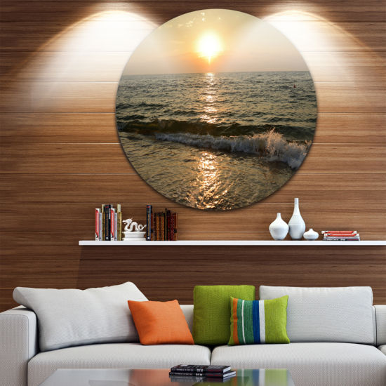 Design Art Black Seascape in Morning Sunlight Beach Photo Metal Circle Wall Art