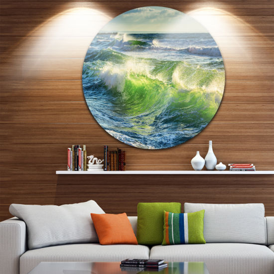 Design Art Sunrise and Shining Waves in Ocean Beach Photo Metal Circle Wall Art