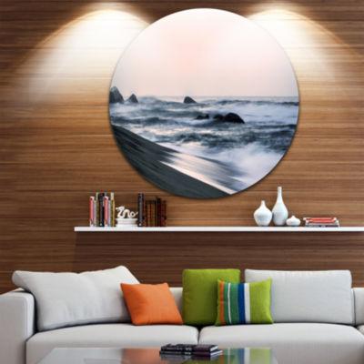 Design Art Wonderful Long Exposure Sea Waves BeachPhoto Metal Circle Wall Art