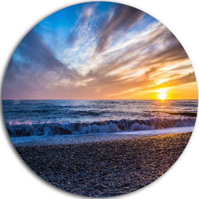Design Art Cloudy Sky with Bright Full Yellow SunBeach Photo Metal Circle Wall Art