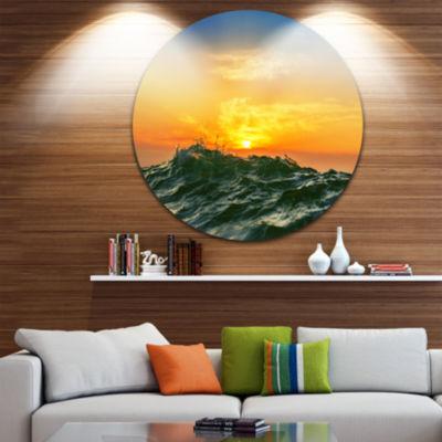 Design Art Bright Sunlight and Glowing Waves BeachPhoto Metal Circle Wall Art