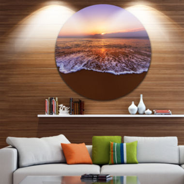 Design Art Orange Tinged Sea Waters at Sunset Beach Photo Metal Circle Wall Art