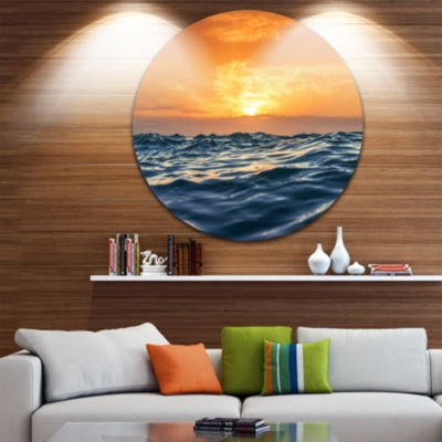 Design Art Blue Waves Dancing at Yellow Sunset Beach Photo Metal Circle Wall Art