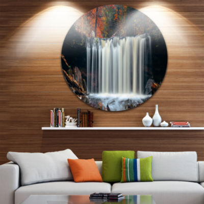 Design Art Autumn Waterfall with Colorful FoliageLandscape Metal Circle Wall Art