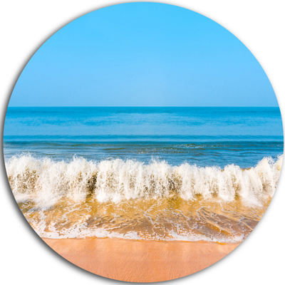 Design Art Beautiful Blue Sea and Roaring Waves Beach Photo Metal Circle Wall Art