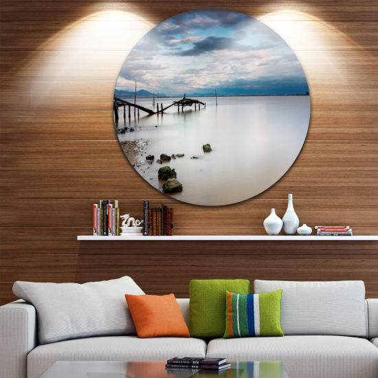 Design Art Magic Sunrise with Old Wooden Pier PierSeascape Metal Circle Wall Art