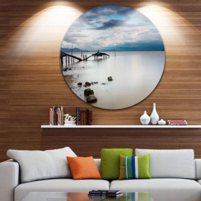 Design Art Magic Sunrise with Old Wooden Pier PierSeascape Metal Circle Wall Art