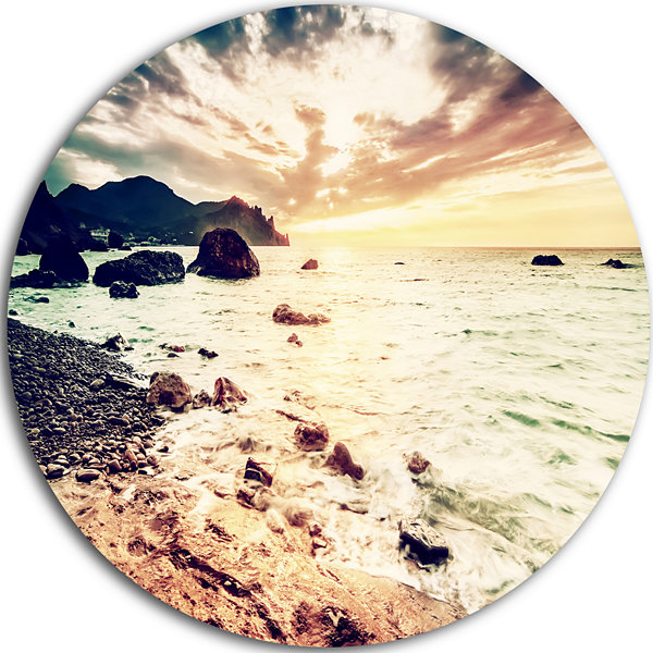 Design Art Summer Seascape with Scenic View Seashore Metal Circle Wall Art