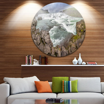 Design Art Huge Gullfoss Waterfall in Iceland Landscape Print Wall Artwork