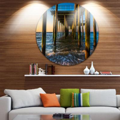 Design Art Fishing Pier and Waves at Atlantic SeaPier Seascape Metal Circle Wall Art