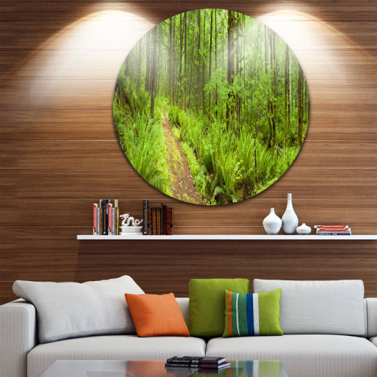 Design Art Lush Forest Path Columbia River ForestMetal Circle Wall Art Print