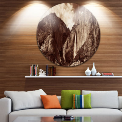 Design Art Yosemite Waterfall Panorama Extra LargeSeashore Metal Circle Wall Art