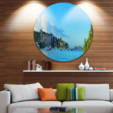 Design Art St John Bay Panoramic View Extra LargeSeashore Metal Circle Wall Art