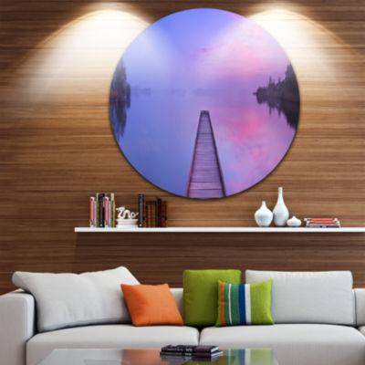 Design Art Jetty in a Dawn Lake Wooden Sea BridgeMetal Circle Wall Art