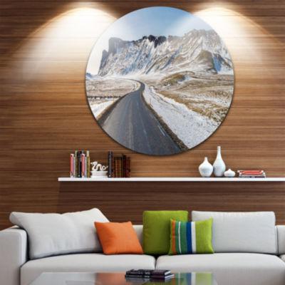 Design Art Range Road in Winter Mountains Landscape Metal Circle Wall Art