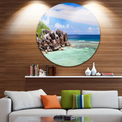 Design Art Beautiful Seychelles Rocky Coast Landscape Metal Circle Wall Art