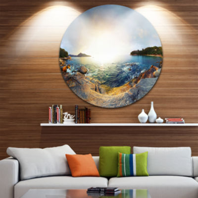 Design Art Rocky Coast in Andaman Sea Landscape Metal Circle Wall Art