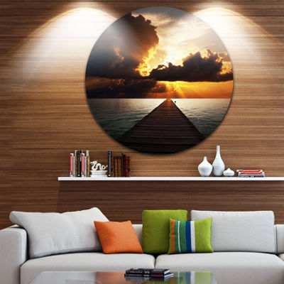 Design Art Indefinite Wooden Pier to Gloomy Sea Bridge Metal Circle Wall Art