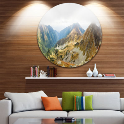 Design Art Ostry Rohac and Placlive Peaks Landscape Metal Circle Wall Art