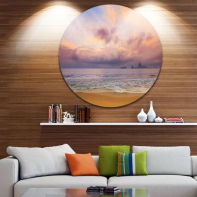 Design Art Bright Morning over the Sea Seashore Metal Circle Wall Art