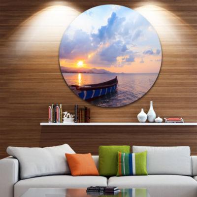 Design Art Small Fishermen Boat at Sunset SeashoreMetal Circle Wall Art