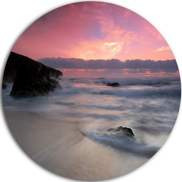 Design Art White Waters at Guincho Beach Cascais Seashore Metal Circle Wall Art