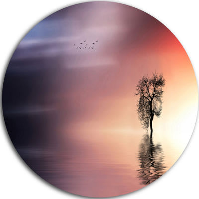 Design Art Solitude Tree and Flying Birds Extra Large Wall Art Landscape