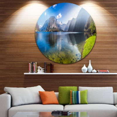 Design Art Crystal Clear Waters of Alps Lake Landscape Print Wall Artwork