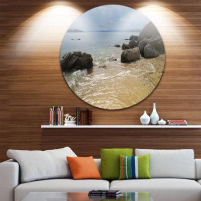 Design Art Beautiful Sea View of Rocky Coast ExtraLarge Seashore Metal Circle Wall Art