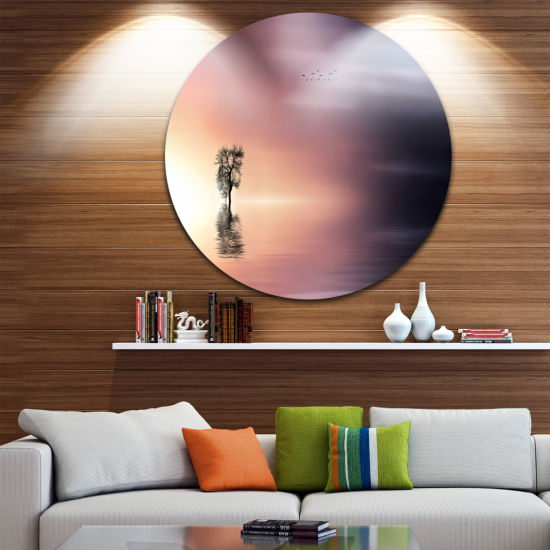Design Art Lonely Tree and Birds Panorama Extra Large Wall Art Landscape