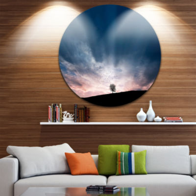 Design Art Flock of Birds and Lonely Tree Extra Large Wall Art Landscape