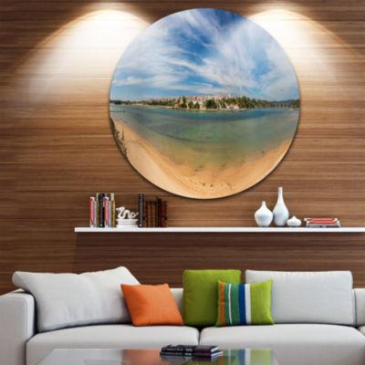 Design Art Portuguese Maritime Village Panorama Extra Large Seashore Metal Circle Wall Art