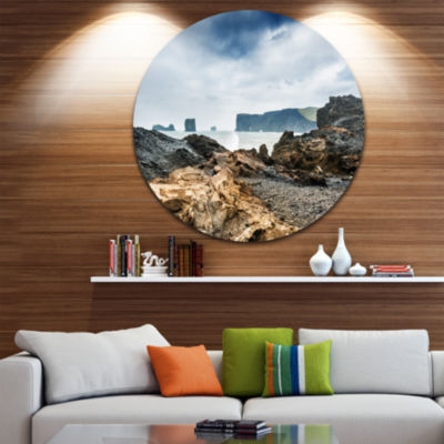 Design Art Storm in Rocky Coast of Atlantic Landscape Metal Circle Wall Art