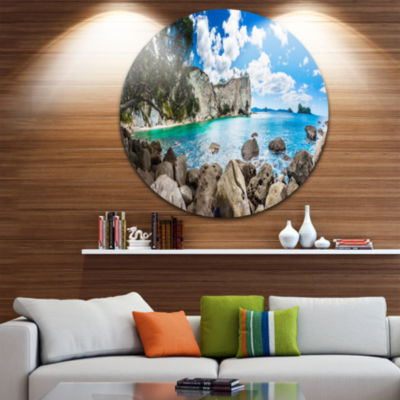 Design Art Nestor Notabilis Kea Panorama Extra Large Seashore Metal Circle Wall Art