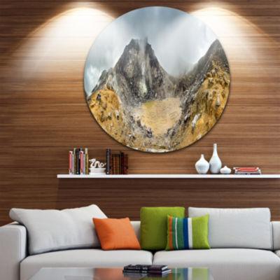 Design Art Volcano Panorama with Dramatic Sky Landscape Metal Circle Wall Art