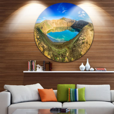 Design Art Blue Lake in the Crater of Volcano Landscape Print Wall Artwork