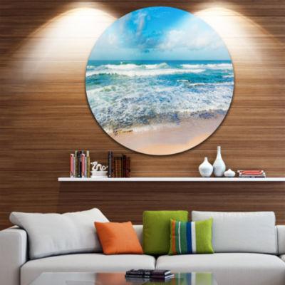 Design Art Indian Ocean Panoramic View Extra LargeSeashore Metal Circle Wall Art