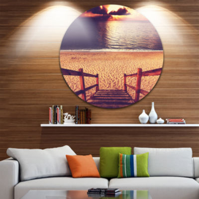 Design Art Wood Boardwalk in Beach at Evening Bridge Metal Circle Wall Art