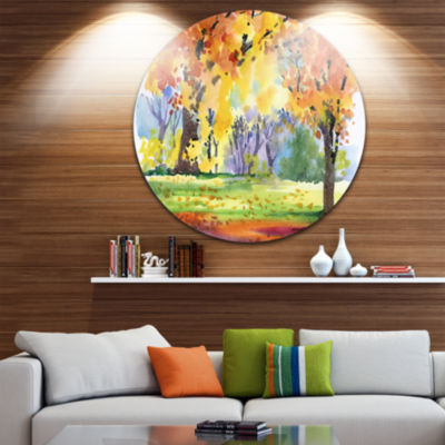Design Art Autumn Park Yellow Trees Watercolor Landscape Metal Circle Wall Art