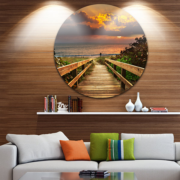 Design Art Long Wooden Stairs into the Sea BridgeMetal Circle Wall Art