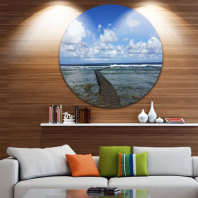 Design Art Rocky Coast along Pacific Ocean Extra Large Seashore Metal Circle Wall Art