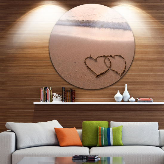 Design Art Two Hearts Drawn on the Beach Extra Large Seascape Metal Wall Decor