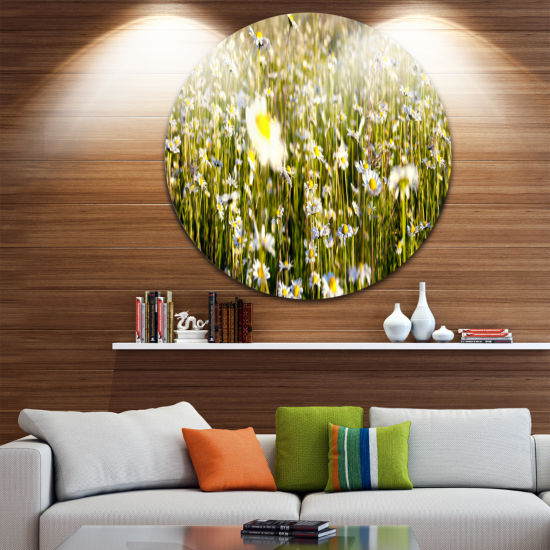 Design Art Wild Chamomile Flowers Field Large Flower Metal Circle Wall Art