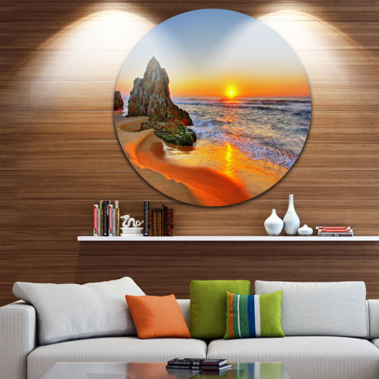Design Art Beautiful Sunrise by Beach in Tathra Seashore Metal Circle Wall Art