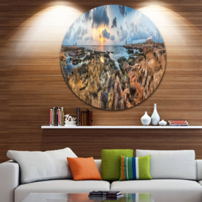 Design Art Rocky with Historic Ruins Evening Landscape Metal Circle Wall Art