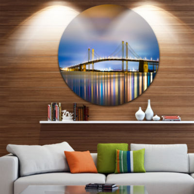 Design Art Delaware Memorial Bridge Panorama Landscape Metal Circle Wall Art