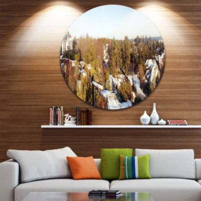 Design Art Rocky Coast with Wooden Cottage Landscape Metal Circle Wall Art